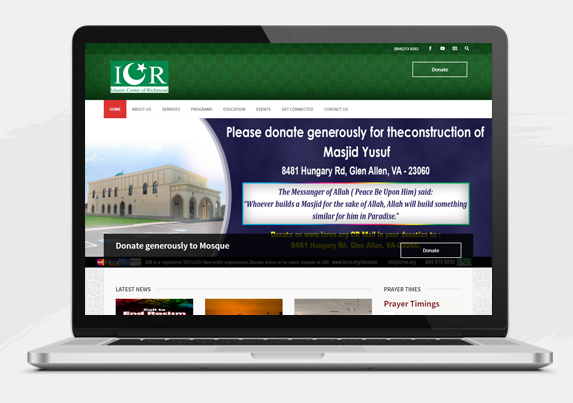 Website development for Islamic Center of Richmond Virginia