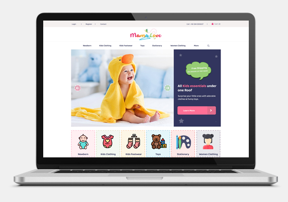 Ecommerce Website development for kids clothing